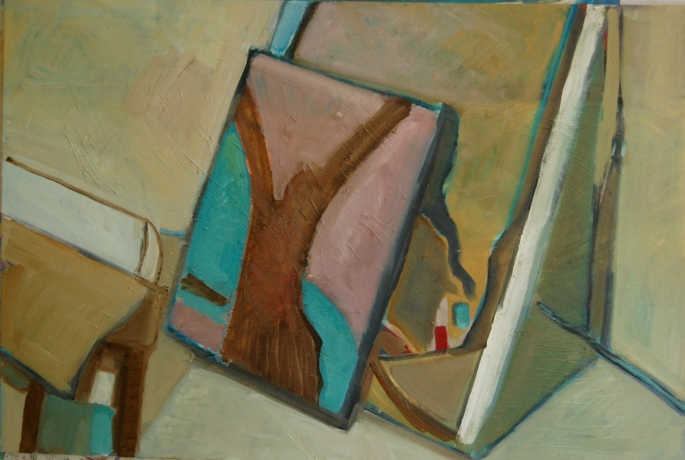 Corner in my studio 4 - Oil on canvas - 18x36inc