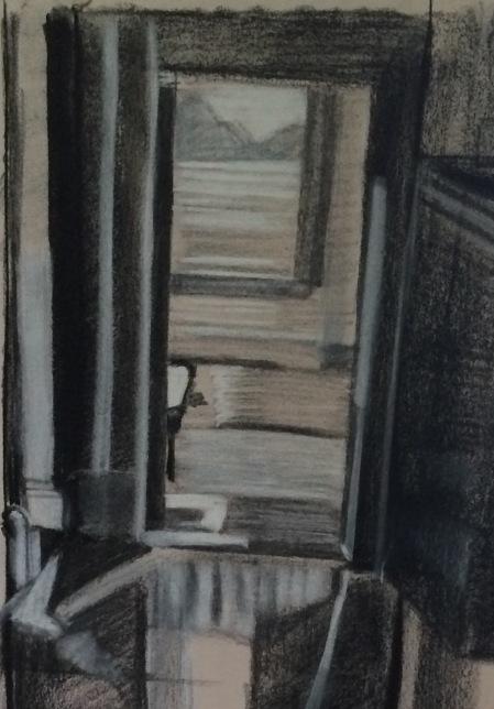 Painting Memories - Pastels on newspaper - 16x20inc